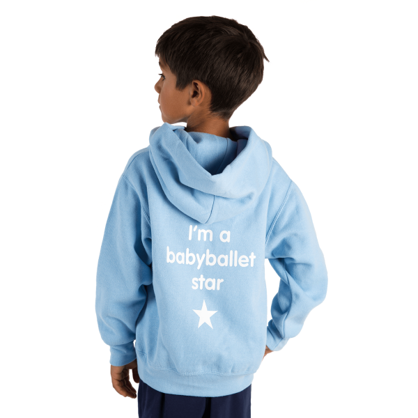Childs overhead hoaoded sweatshirt-BLUE perfect for baby dance classes at babyballet