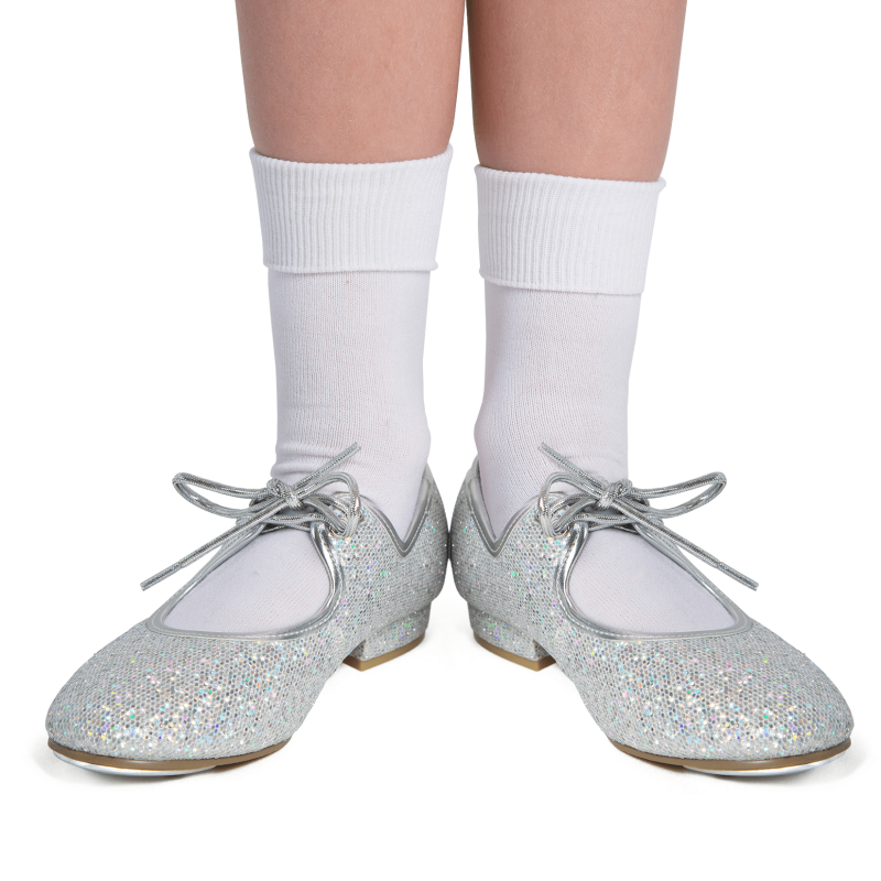 Sparkly silver hologram tap shoes perfect for dance classes at babyballet