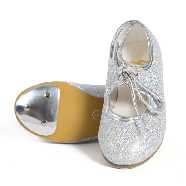 silver hologram tap shoes
