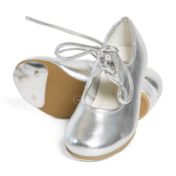 Silver metallic tap shoes perfect for dance classes at babyballet
