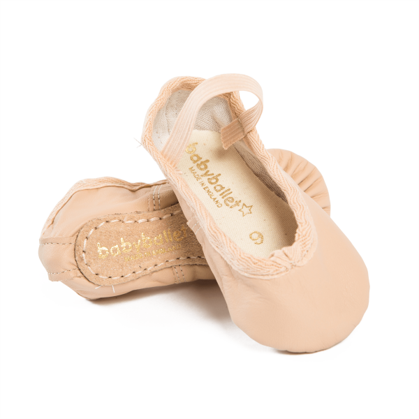 Pink leather ballet shoes perfect for dance classes with baby ballet