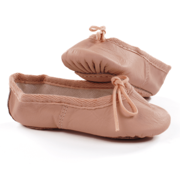 Pink Leather Ballet Shoes for children kids girls dancewear