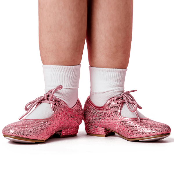 Pink Sparkly Tap Shoes dancing class