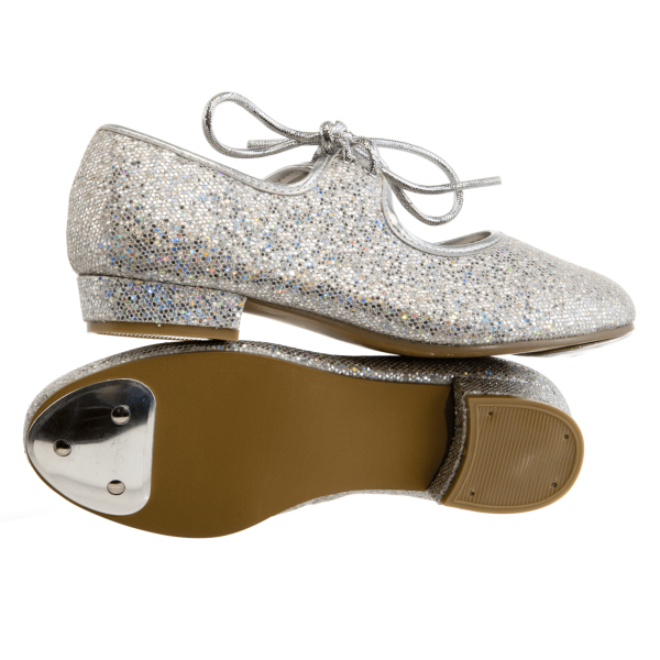 Silver-Sparkly-Hologram-Tap-Shoes for kids tap dancing classes