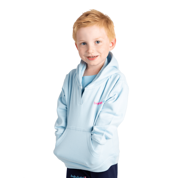 Blue hooded sweatshirt crew neck perfect for dancing classes at babyballet