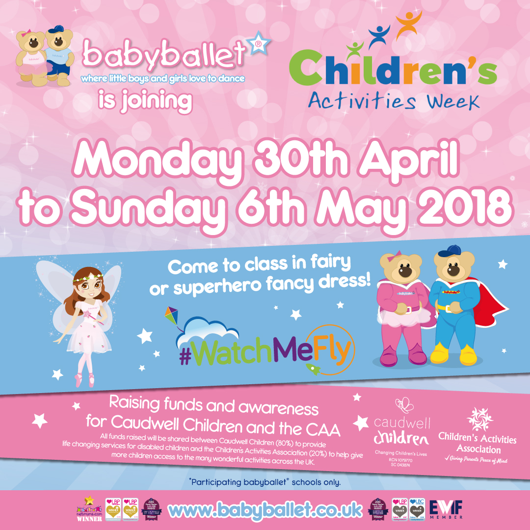 babyballet join hundreds of activity providers for Children's activities week #CAW2018 #WatchMeFly