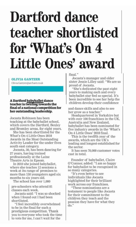 Dance teacher at babyballet Dartford Bexley and Bromley nominated in the Whats On 4 Kids Awards 2018 Bexley Times