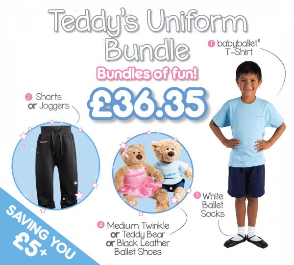 Teddy's Uniform Bundle gifting bundle the perfect dancwear uniform pack for boys at babyballet. Im a babyballet star t-shirt, shorts or joggers, ballet shoes and babyballet merchandise