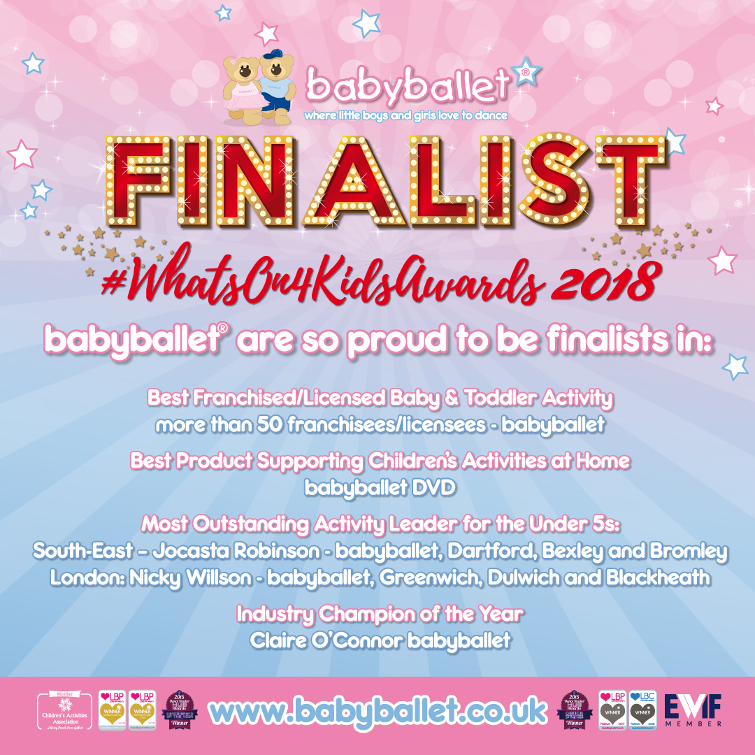 Dance teacher at babyballet Dartford Bexley and Bromley nominated in the Whats On 4 Kids Awards 2018