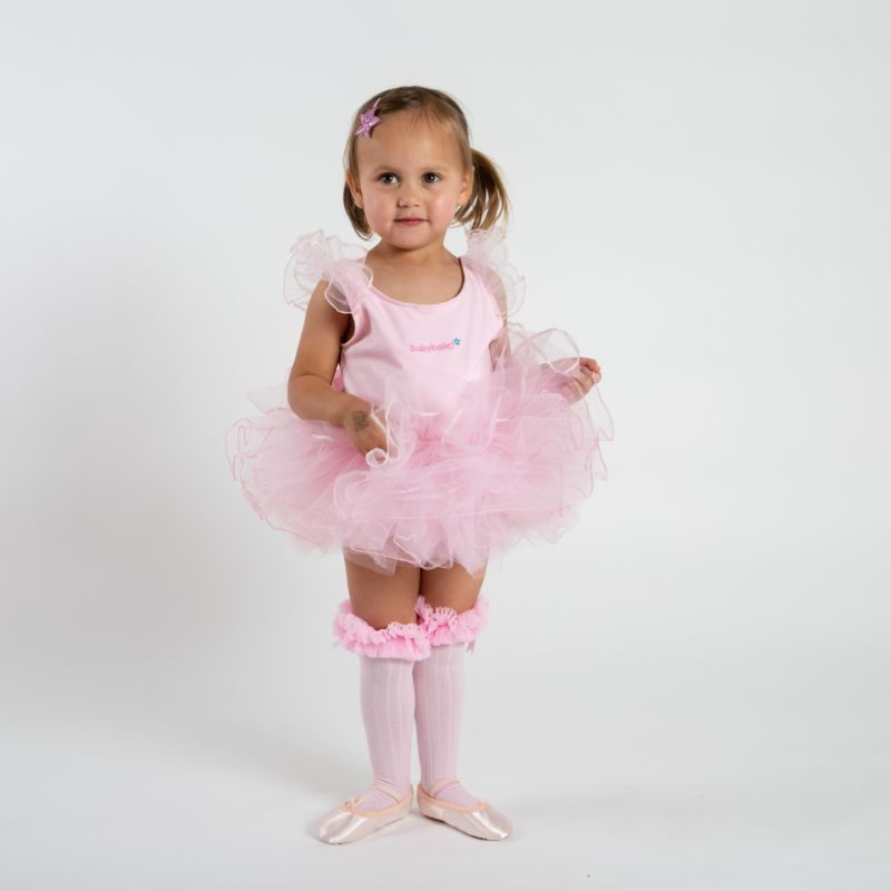 babyballet pink knee high tutu socks 3