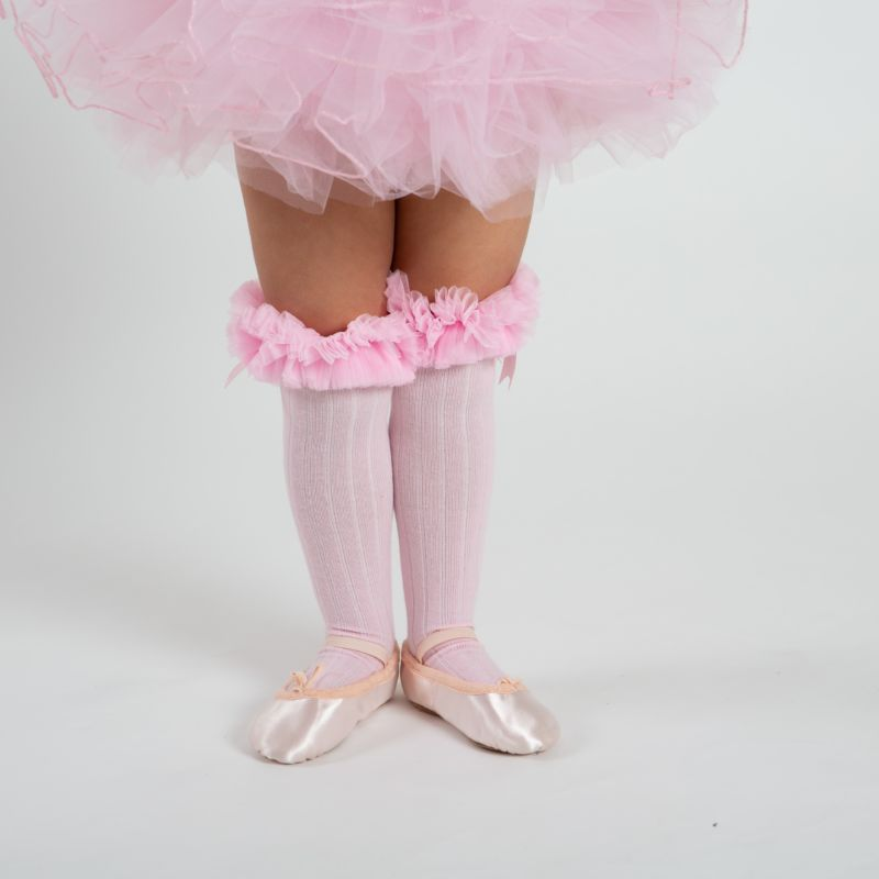 babyballet pink knee high tutu socks