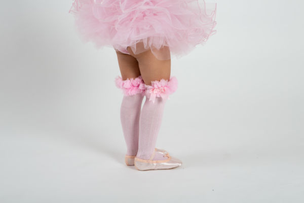 babyballet pink knee high tutu socks 1