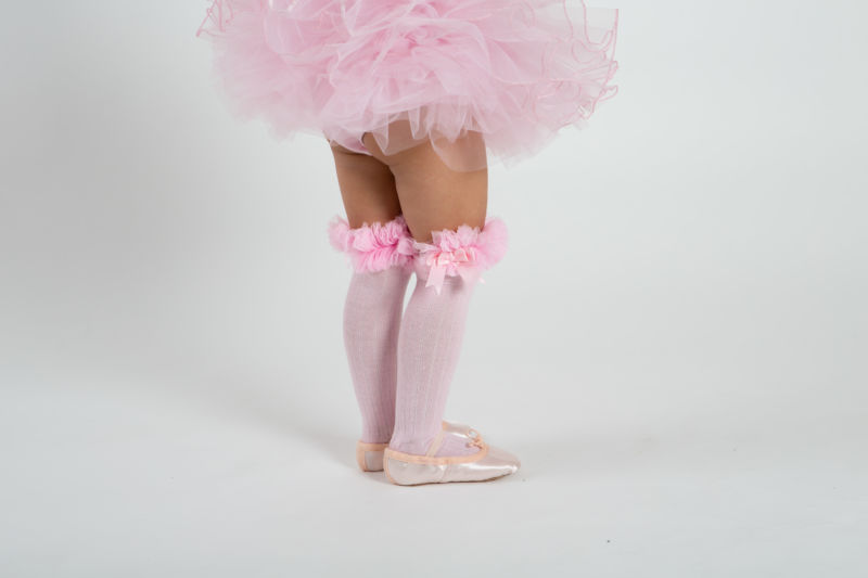 babyballet pink knee high tutu socks 1