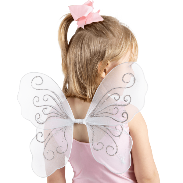 Mini wings for little girls to dress up and play in a world of make believe. Perfect gift for Christmas available at babyballet in Pink and White. baby dance outfits, baby pink dancewear, babyballet, babyballet dancewear, babyballet outfits, ballet outfits, childrens fairy wings, christmas presents, gifting, little girls dancewear, little girls wings, pink ballet gifting, pink fairy wings, sparkly fairy wings, sparkly wings, toddler dancing, white fairy wings