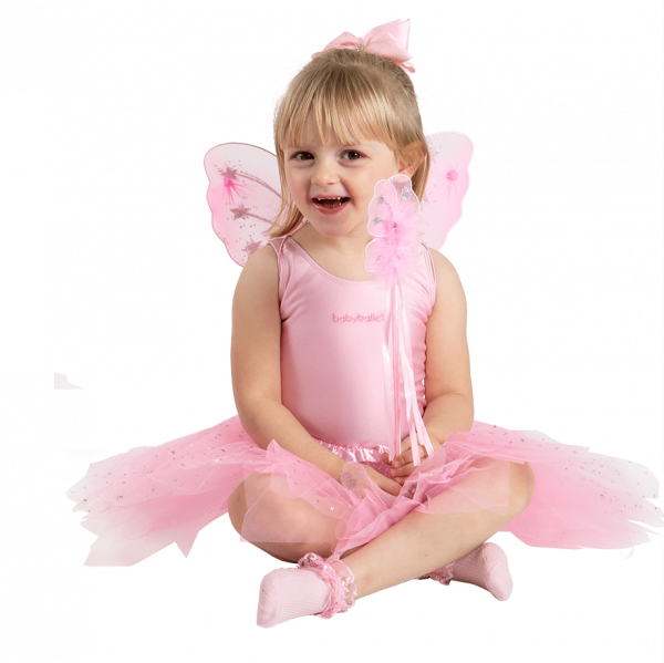 Tutu gift set including sparkly tutu skirt, mini fairy wings and fairy wand. Perfect for young girls dress up, fairy fancy dress, princess costume. pretend to be a fairy princess. Available from babyballet in Pink and White