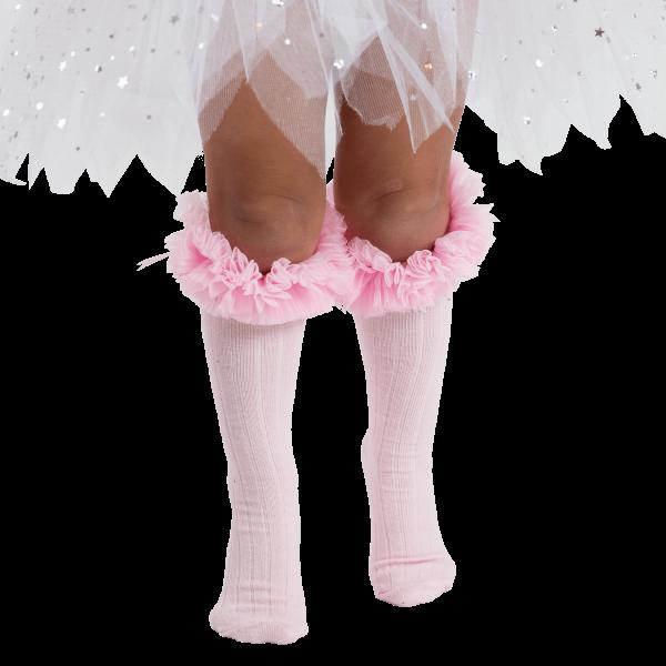 babyballet pink knee high tutu socks