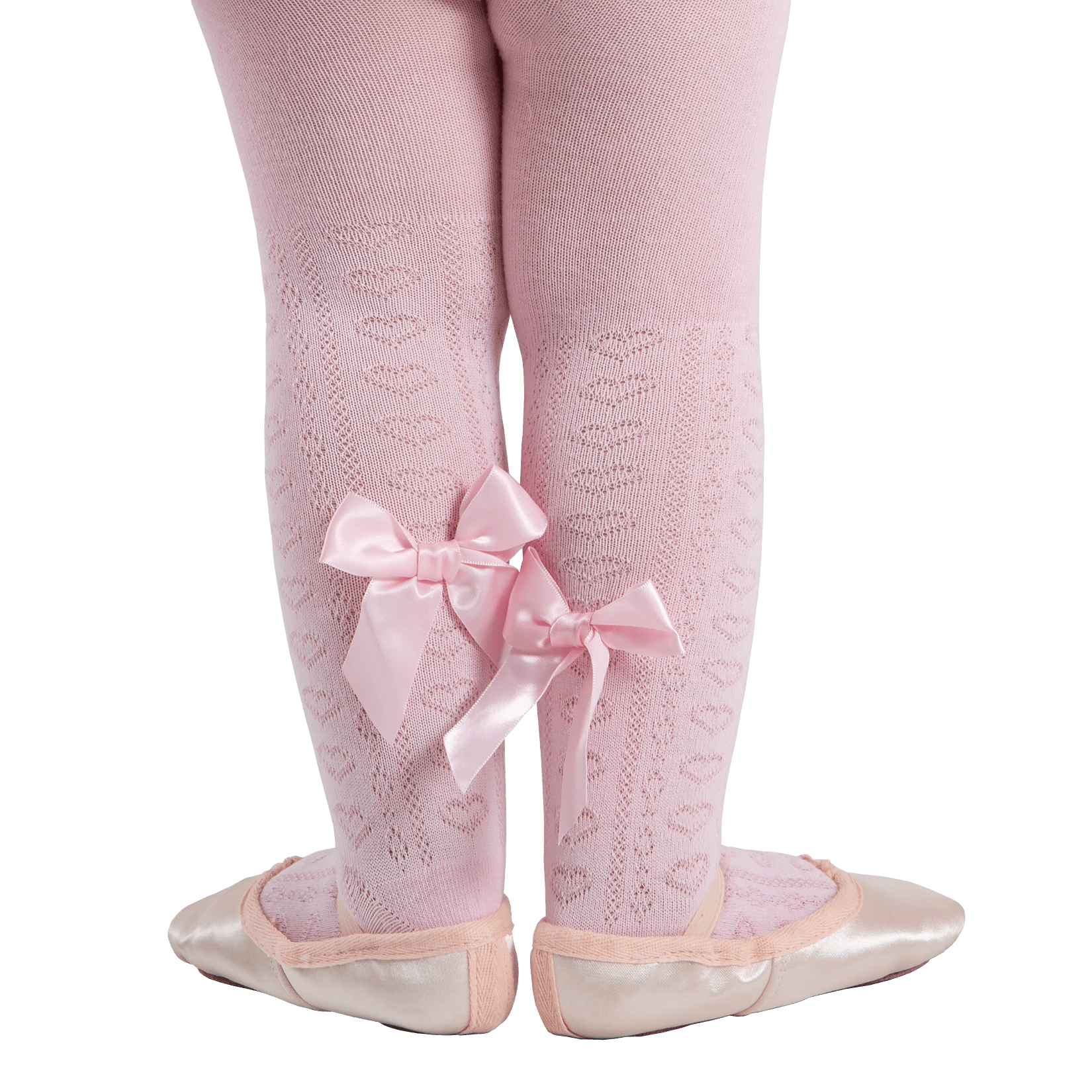 147443abf01f6 Pink Jacquard Heart Tights with bow perfect for baby ballet stars to wear  at dance classes