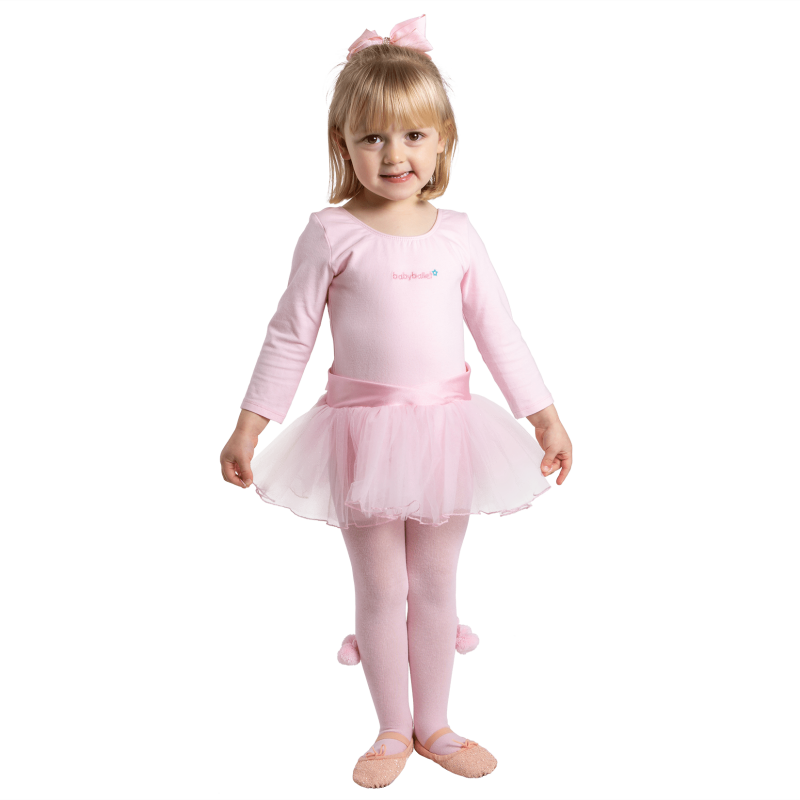 Pink Pom Pom Tights perfect for girls to wear with tutu for babyballet classes