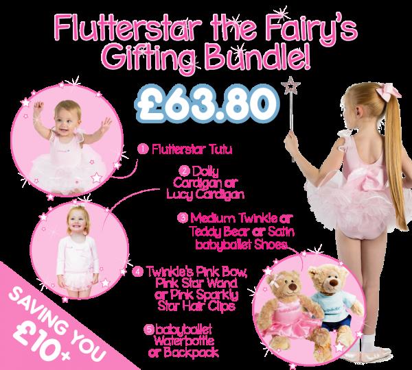 Flutterstar the Fairy's gifting bundle the perfect dancwear uniform pack for girls at babyballet. Tutu, ballet shoes, dance cardigan and babyballet merchandise