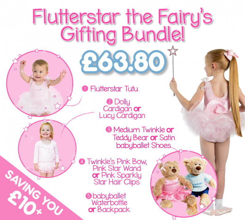 Flutterstar the Fairy's gifting bundle the perfect dancwear uniform pack for girls at babyballet. Tutu, ballet shoes, dance cardigan and babyballet merchandise