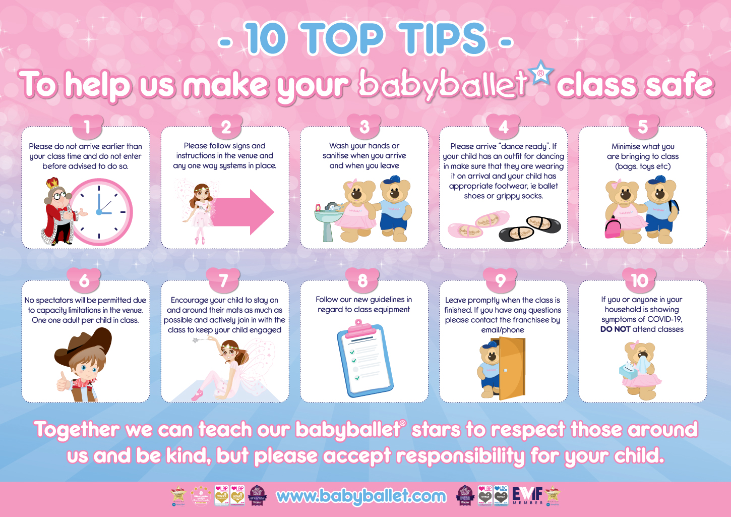 babyballet top 10 tips for you to help keep our classes COVID safe