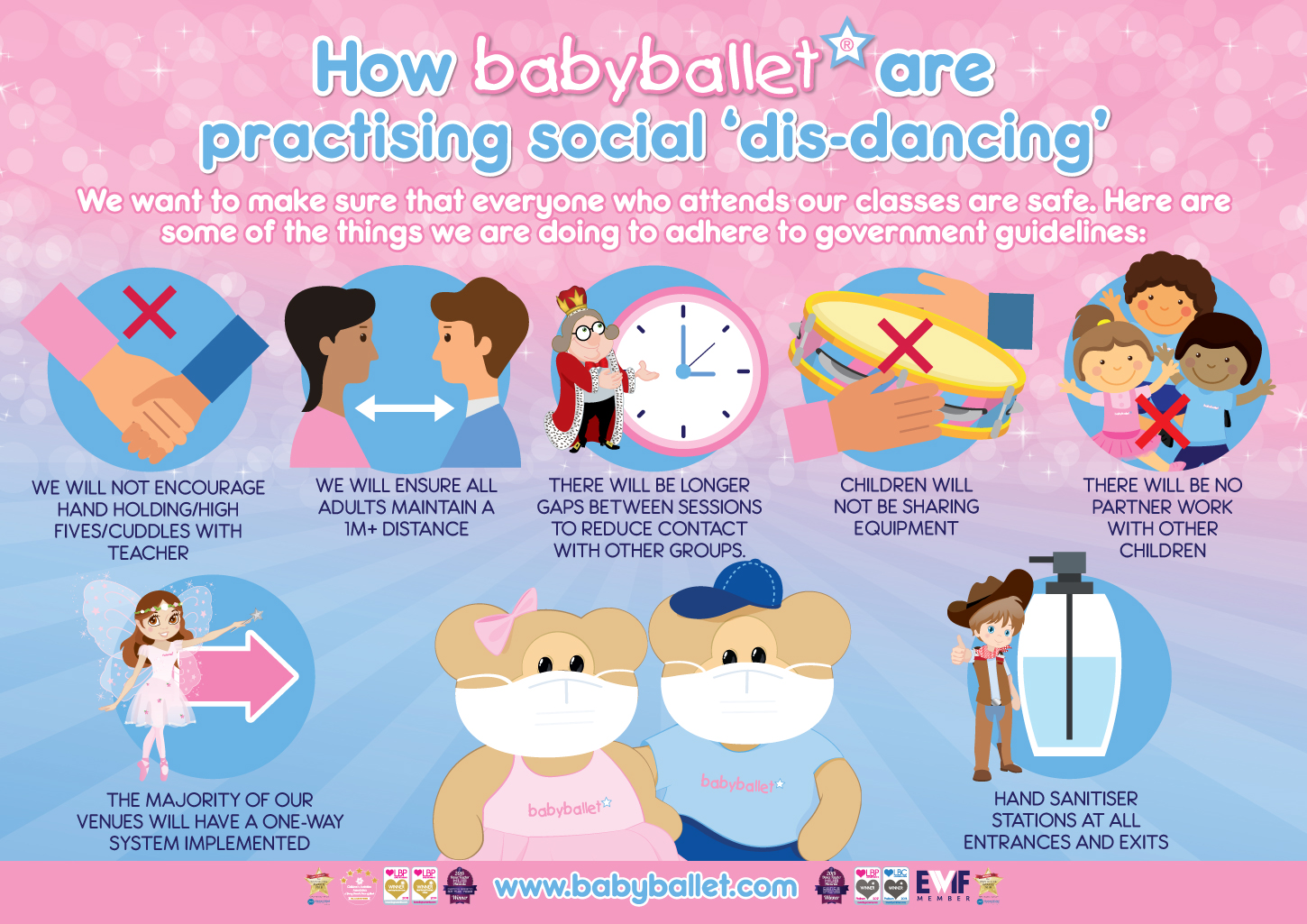 How babyballet are practising social distancing and implementing additional safety measures in all of our classes