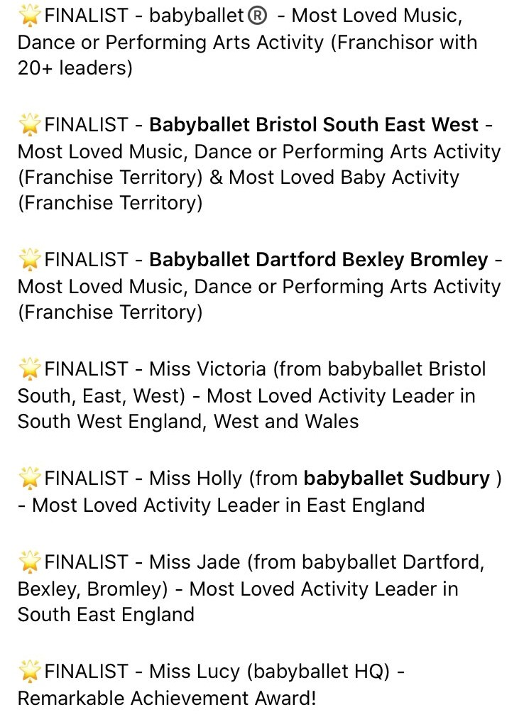 babyballet are finalists in the What's on 4 Kids Activities Awards 2020 in several prestigious categories
