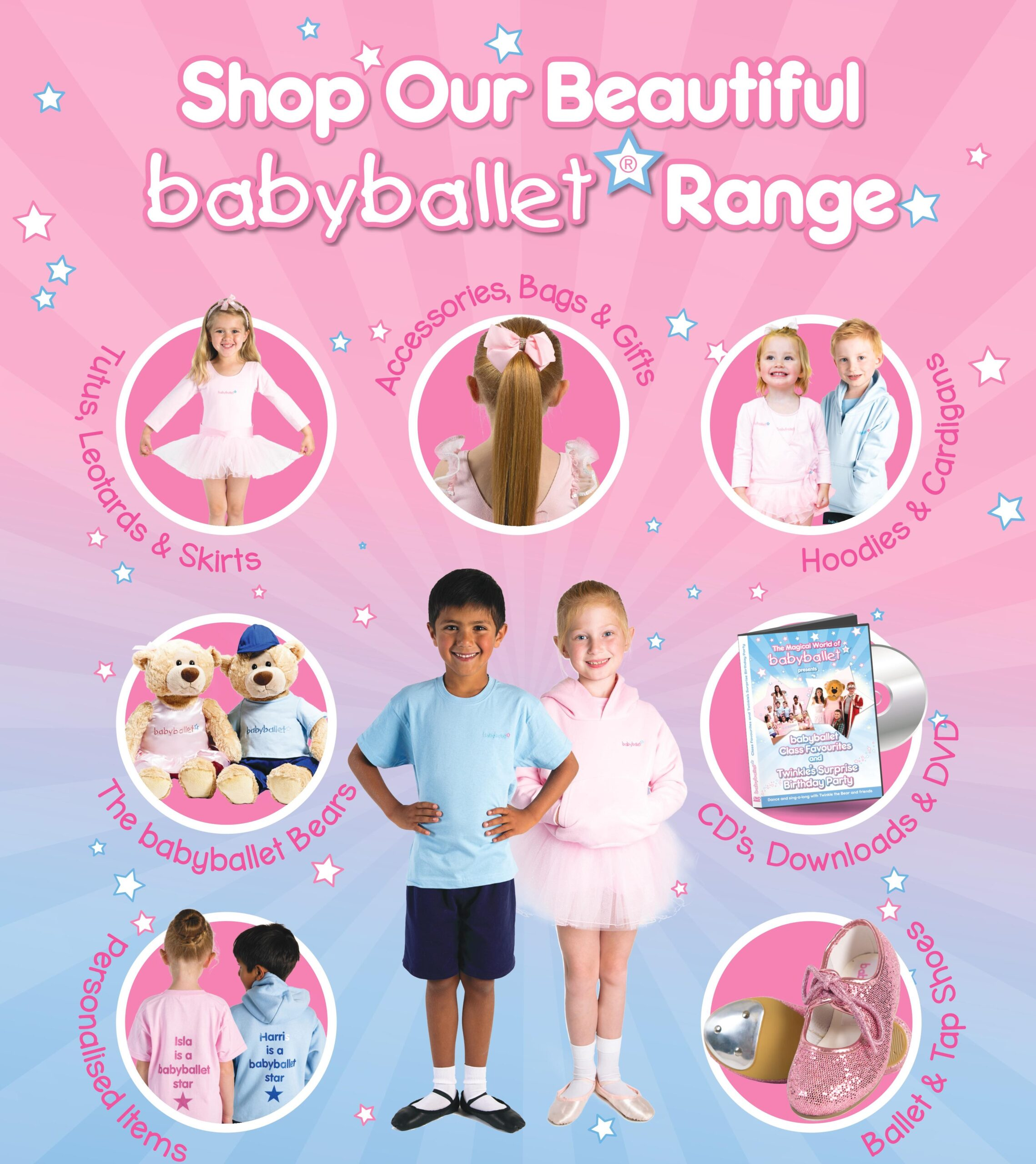 babyballet uniform for little dancers to wear. Boys and girls dancewear and shoes