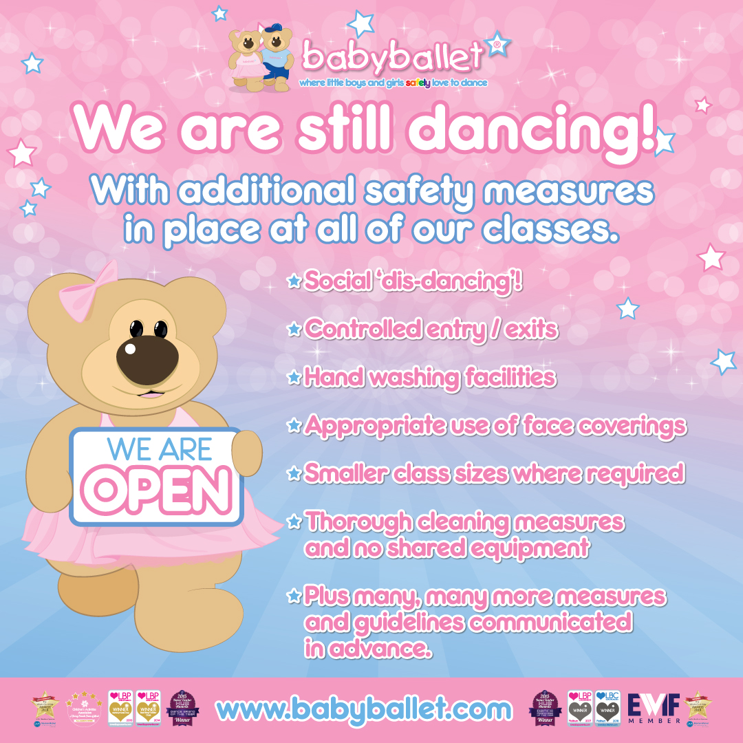babyballet classes are available for children from 6 months to 6 years old with additional safety measures in place