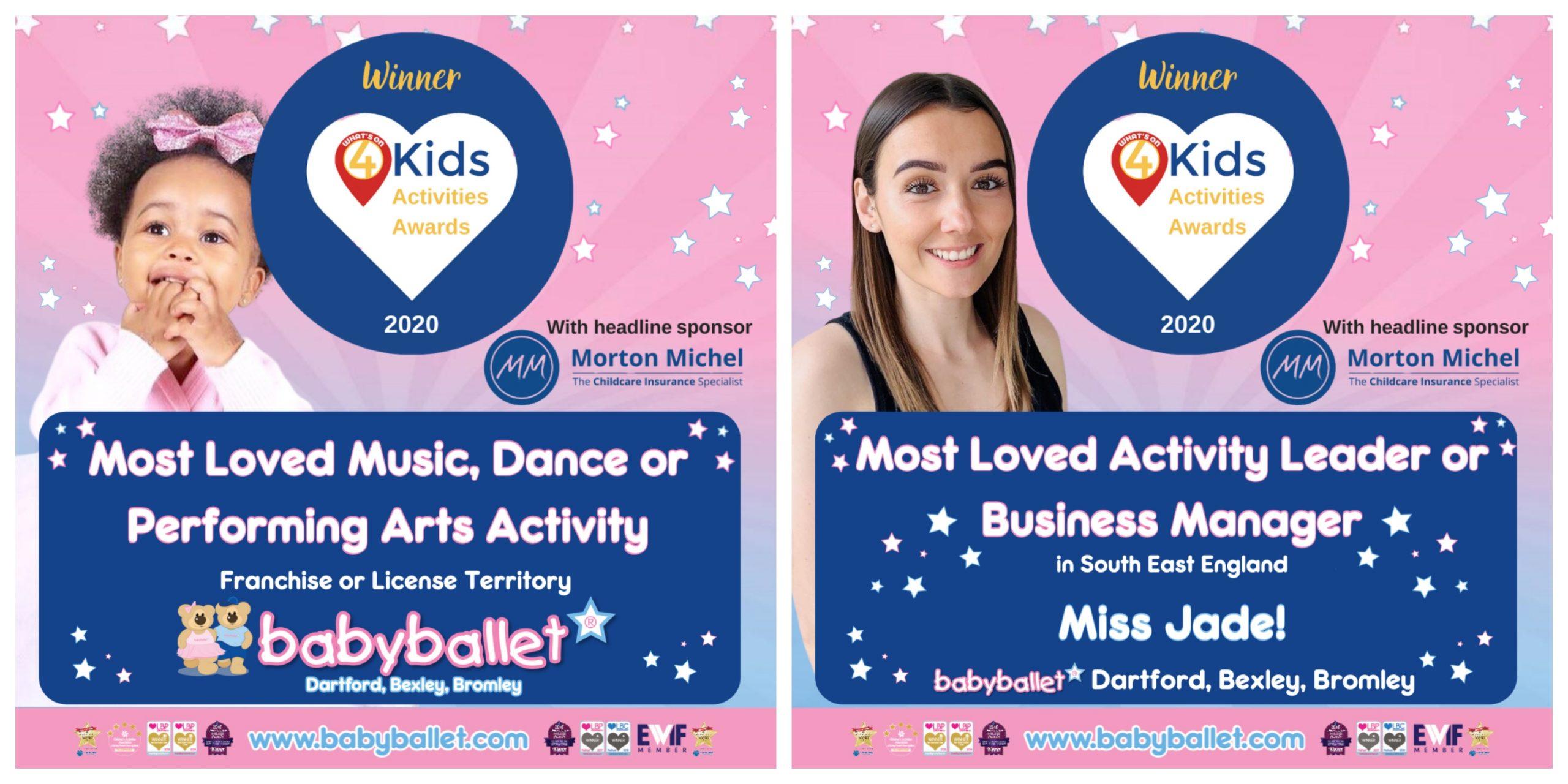 Dartford, Bexley, Bromley - babyballet WINNERS - WO4 Kids Activity Awards 2020