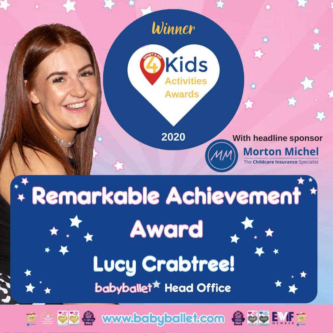 zbabyballet WINNER_ Remarkable Achievement_ Lucy Crabtree_WO4 Kids Activities Awards 2020