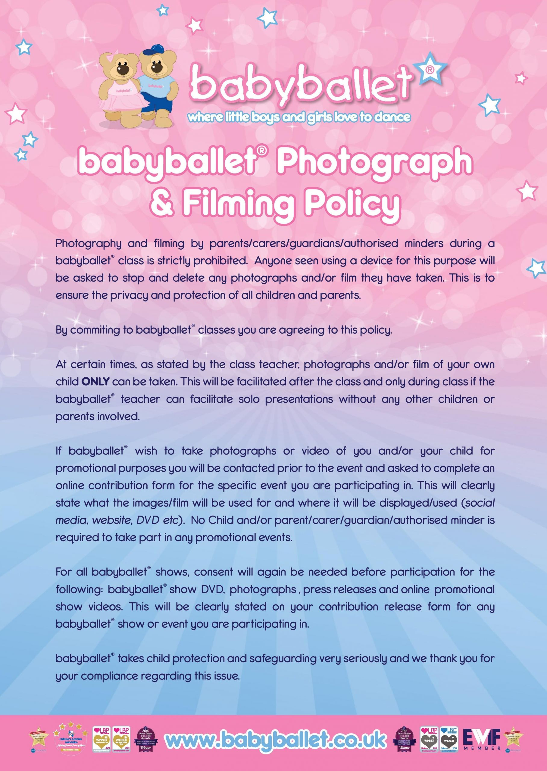 babyballet® Photograph and Filming Policy